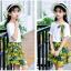 เสื้อ+กระโปรง สีเขียว แพ็ค 5 ชุด ไซส์ 120-130-140-150-160 (เลือกไซส์ได้) thumbnail 3