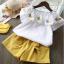เสื้อ+กางเกง สีเหลือง แพ็ค 5 ชุด ไซส์ 90-100-110-120-130 thumbnail 1