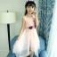 ชุดเดรสแขนกุดสีชมพูแต่งดอกไม้ที่เอว [size 5y-6y-7y-8y-9y-10y] thumbnail 4