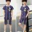 เสื้อ+กางเกง สีน้ำเงิน แพ็ค 5 ชุด ไซส์ 130-140-150-160-170 (เลือกไซส์ได้) thumbnail 5