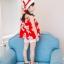 ชุดเซตเสื้อลายดอกไม้สีแดง+กางเกงลูกไม้สีขาว+เข็มกลัดดอกไม้+หมวกพร้อมผ้าคาดสีแดง แพ็ค 5 ชุด [size 2y-3y-4y-5y-6y] thumbnail 4
