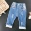 กางเกงยีนส์แต่งลูกไม้ที่ปลายขา แพ็ค 5 ชิ้น [size 2y-3y-4y-5y-6y] thumbnail 1