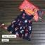 ชุดเดรสสีกรมท่าลายบาร์บีคิว แพ็ค 3 ชุด [size 2y-5y-6y] thumbnail 1