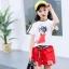 เสื้อ+กางเกง สีแดง แพ็ค 6 ชุด ไซส์ 110-120-130-140-150-160 (เลือกไซส์ได้) thumbnail 1