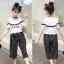 เสื้อ+กางเกง สีขาว แพ็ค 5 ชุด ไซส์ 120-130-140-150-160 (เลือกไซส์ได้) thumbnail 5