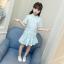 เสื้อ+กระโปรง สีฟ้า แพ็ค 5 ชุด ไซส์ 110-120-130-140-150 (เลือกไซส์ได้) thumbnail 1