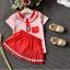 เสื้อ+กระโปรง สีแดง แพ็ค 5ชุด ไซส์ 100-110-120-130-140 thumbnail 3