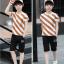 เสื้อ+กางเกง สีช็อคโกแลค แพ็ค 5 ชุด ไซส์ 130-140-150-160-170 (เลือกไซส์ได้) thumbnail 4