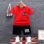 ชุดเซตเสื้อสีแดงสกรีน mix-ups + กางเกงสีดำ แพ็ค 4 ชุด [size 6m-1y-2y-3y] thumbnail 1