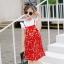 ชุดเซตเสื้อสีขาว+เดรสสายเดี่ยวสีแดงลายดอกไม้ แพ็ค 5 ชุด [size 2y-3y-4y-5y-6y] thumbnail 3