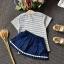 เสื้อ+กระโปรง สีกรม แพ็ค 5ชุด ไซส์ 100-110-120-130-140 thumbnail 4