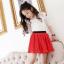 เสื้อ+กระโปรง สีแดง แพ็ค 5ชุด ไซส์ 100-110-120-130-140 thumbnail 1