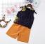 ชุดเซตเสื้อแขนกุดลายดอกไม้สีกรมท่า+กางเกงสีน้ำตาล แพ็ค 5 ชุด [size 2y-3y-4y-5y-6y] thumbnail 1