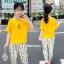 เสื้อ+กางเกง สีเหลือง แพ็ค 5 ชุด ไซส์ 120-130-140-150-160 (เลือกไซส์ได้) thumbnail 2