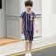 เสื้อ+กางเกง สีน้ำเงิน แพ็ค 5 ชุด ไซส์ 130-140-150-160-170 (เลือกไซส์ได้) thumbnail 3