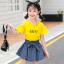 เสื้อ+กระโปรง สีเหลือง แพ็ค 5 ชุด ไซส์ 110-120-130-140-150 (เลือกไซส์ได้) thumbnail 2