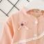 ชุดเดรสแขนยาวสีชมพูแต่งดอกไม้ที่อก [size 6m-1y-2y-3y] thumbnail 3