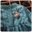 ชุดเดรสแขนยาวลายหิมะสีฟ้าพร้อมเข็มกลัดหอยทาก [size 2y-3y] thumbnail 3