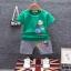 ชุดเซตเสื้อสีเขียวแต่งลายโลโก้+กางเกงสีเทา แพ็ค 4 ชุด [size 6m-1y-2y-3y] thumbnail 1
