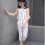 เสื้อ+กางเกง สีน้ำเงิน แพ็ค 5 ชุด ไซส์ 130-140-150-160-170 (เลือกไซส์ได้) thumbnail 4