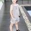 เสื้อ+กางเกง สีเทา แพ็ค 5 ชุด ไซส์ 120-130-140-150-160 (เลือกไซส์ได้) thumbnail 5
