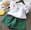 เสื้อ+กางเกง สีเขียว แพ็ค 5 ชุด ไซส์ 90-100-110-120-130 thumbnail 1