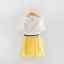 เสื้อ+กระโปรง สีเหลือง แพ็ค 5ชุด ไซส์ 100-110-120-130-140 thumbnail 2