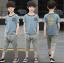 เสื้อ+กางเกง สีฟ้า แพ็ค 5 ชุด ไซส์ 120-130-140-150-160 (เลือกไซส์ได้) thumbnail 2