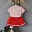 เสื้อ+กระโปรง สีแดง แพ็ค 5ชุด ไซส์ 100-110-120-130-140 thumbnail 2