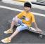 เสื้อ สีเหลือง แพ็ค 5 ชุด ไซส์ 120-130-140-150-160 (เลือกไซส์ได้) thumbnail 3