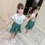เสื้อ+กระโปรง สีเขียว แพ็ค 4 ชุด ไซส์ 110-120-130-140 (เลือกไซส์ได้) thumbnail 4