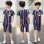 เสื้อ+กางเกง สีน้ำเงิน แพ็ค 5 ชุด ไซส์ 130-140-150-160-170 (เลือกไซส์ได้) thumbnail 2