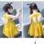 ชุดเดรสสีเหลืองแต่งดอกไม้สีขาวที่หน้าอกและปีกที่ด้านหลัง [size 2y-3y-4y-5y-6y] thumbnail 1