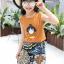 เสื้อ+กระโปรง สีช็อคโกแลต แพ็ค 5 ชุด ไซส์ 120-130-140-150-160 (เลือกไซส์ได้) thumbnail 3