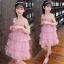 ชุดกระโปรง สีชมพู แพ็ค 5 ชุด ไซส์ 110-120-130-140-150 (เลือกไซส์ได้) thumbnail 3