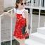 ชุดเซตเสื้อสีขาว+เดรสสายเดี่ยวสีแดงลายดอกไม้ แพ็ค 5 ชุด [size 2y-3y-4y-5y-6y] thumbnail 1
