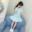 เสื้อ+กระโปรง สีฟ้า แพ็ค 5 ชุด ไซส์ 110-120-130-140-150 (เลือกไซส์ได้) thumbnail 2