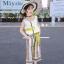เสื้อ+กางเกง สีเหลือง แพ็ค 6 ชุด ไซส์ 110-120-130-140-150-160 (เลือกไซส์ได้) thumbnail 1
