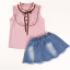 เสื้อ+กระโปรง สีชมพู แพ็ค 5 ชุด ไซส์ 120-130-140-150-160 (เลือกไซส์ได้) thumbnail 6
