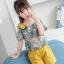 เสื้อ+กางเกง สีเหลือง แพ็ค 6 ชุด ไซส์ 110-120-130-140-150-160 (เลือกไซส์ได้) thumbnail 3