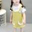ชุดเซตเสื้อสีขาวแต่งระบายที่คอ+เอี๊ยมกระโปรงสีเหลือง แพ็ค 4 ชุด [size 6m-1y-2y-3y] thumbnail 4