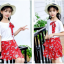 เสื้อ+กระโปรง สีแดง แพ็ค 5 ชุด ไซส์ 120-130-140-150-160 (เลือกไซส์ได้) thumbnail 3