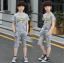 เสื้อ+กางเกง สีเทา แพ็ค 5 ชุด ไซส์ 130-140-150-160-170 (เลือกไซส์ได้) thumbnail 2