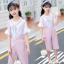 เสื้อ+เอี๊ยมกางเกง สีชมพู แพ็ค 5 ชุด ไซส์ 120-130-140-150-160 (เลือกไซส์ได้) thumbnail 1