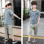 เสื้อ+กางเกง สีฟ้า แพ็ค 5 ชุด ไซส์ 120-130-140-150-160 (เลือกไซส์ได้) thumbnail 4