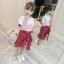 เสื้อ+กระโปรง สีแดง แพ็ค 4 ชุด ไซส์ 110-120-130-140 (เลือกไซส์ได้) thumbnail 2