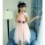 ชุดเดรสแขนกุดสีชมพูแต่งดอกไม้ที่เอว [size 5y-6y-7y-8y-9y-10y] thumbnail 5