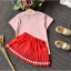 เสื้อ+กระโปรง สีแดง แพ็ค 5ชุด ไซส์ 100-110-120-130-140 thumbnail 4