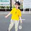 เสื้อ+กางเกง สีเหลือง แพ็ค 5 ชุด ไซส์ 120-130-140-150-160 (เลือกไซส์ได้) thumbnail 3