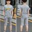 เสื้อ+กางเกง สีเทา แพ็ค 5 ชุด ไซส์ 130-140-150-160-170 (เลือกไซส์ได้) thumbnail 4
